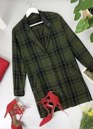 Платье рубашка пиджак в клетку zara