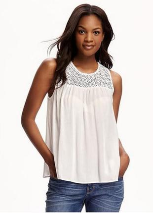 Белая блуза майка топ old navy lace yoke