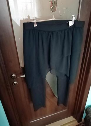Чорні штани-лосіни з спідницею