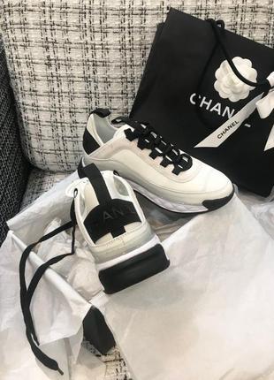 Женские шикарные кроссовки channel white lux quality / люкс качество шанель4 фото