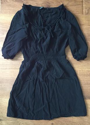 Черная удлиненная блуза из вискозы