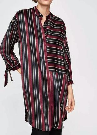Стильное сатиновое платье рубашка в полоску от zara