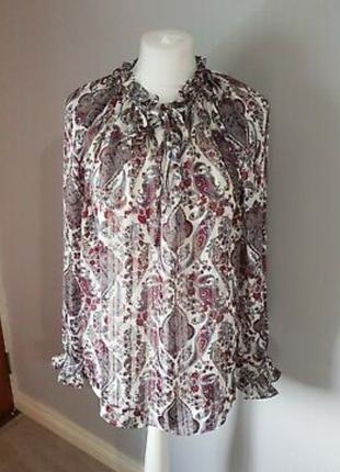 Блуза блузка рубашка широкий рукав принт цветы огурцы пейсли бута стиль винтаж прованс