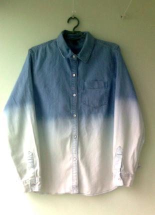 Нежная джинсовая рубашка с ефектом омбре джинсова сорочка