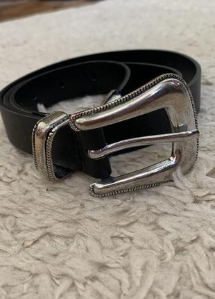Кожаный ремень с серебряной фурнитурной пояс zara