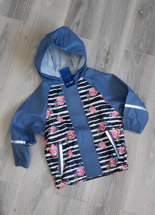 Куртка дождевик lupilu 86/92 см без подкладки (принт розы)