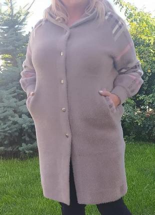 Шикарная альпака пальто батал турция люкс качество