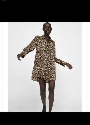 Платье zara. леопардовое.