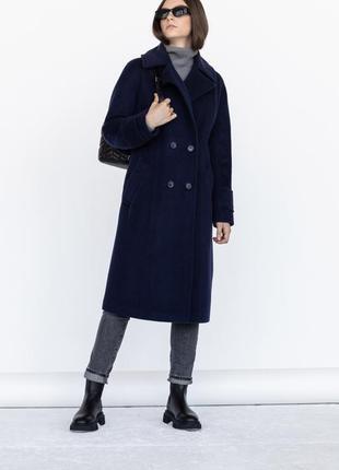 Шерстяное тёплое зимнее пальто на пуговицах демисезон