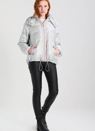 Новый оверсайз пуховик benetton куртка серебро пух 90% оригинал бенеттон