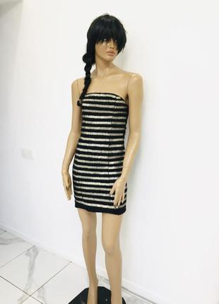 Превосходное гламурное платье бюстье расшитое металлическими пайетками от zara basic