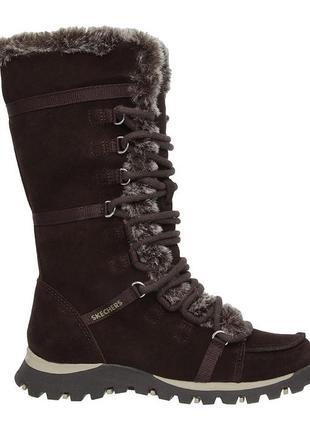 100% замшевые теплые женские ботинки, сапоги с мехом 36 skechers оригинал
