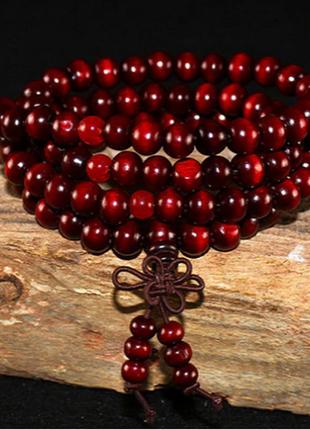 Тибетский браслет деревянный в несколько оборотов гранатового цвета