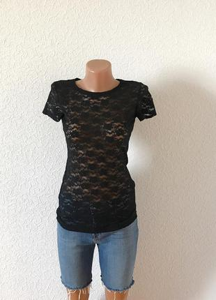 Черная ажурная футболка h&m xs-s