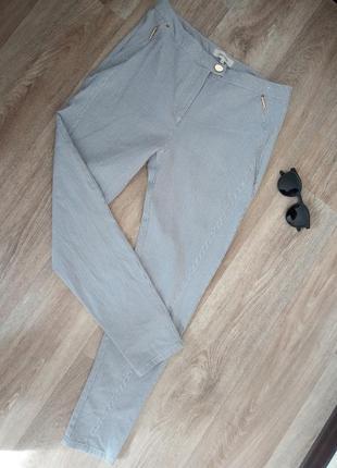Женские штаны в полосочку с карманами высокая посадка