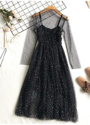 Гипюровое платье черное