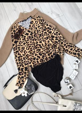 Боди блузка в принт леопардовий принт боді блузка рубашка боди