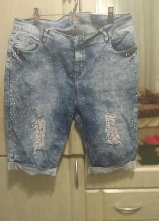 Шорты в стразах, джинс
