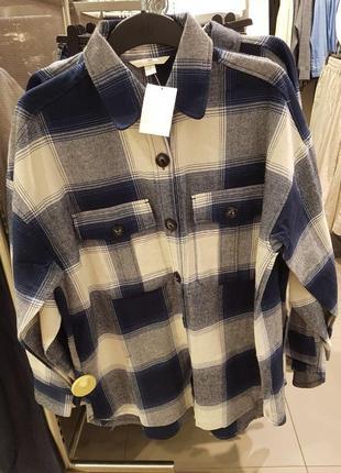 Свободная рубашка в клетку из хлопковой фланели, h&m! оригинал, из португалии!