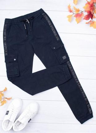 Мужские брюки джоггеры с карманами и лампасами