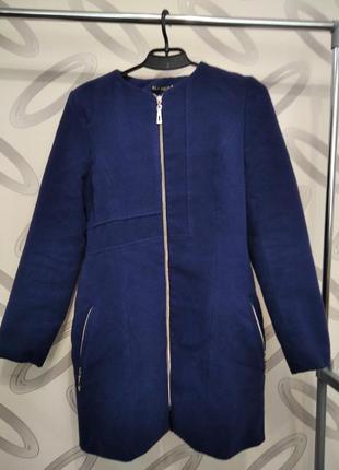 Синее пальто на змейке, пальто на осень, демисезонное пальто