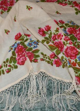 Большой платок с бахромой, этно