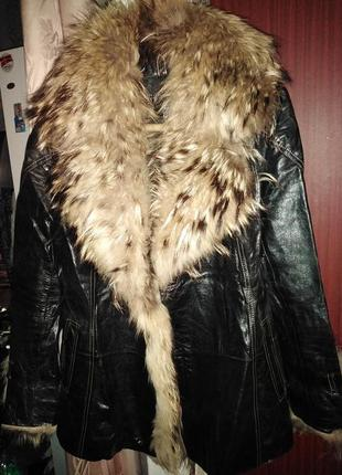 Куртка кожа мех енот
