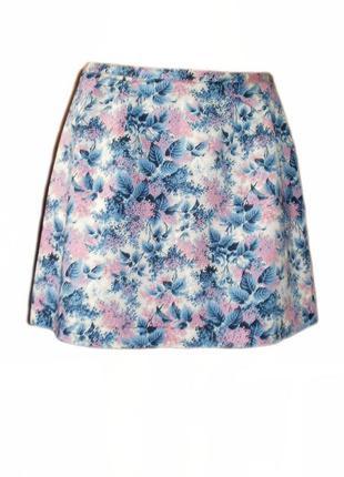 Расклешенная юбка oasis , юбка цветочный принт клеш хлопок размер 14 наш 46 - 48