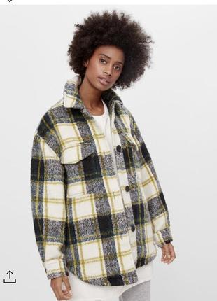 Тёплая рубашка куртка пиджак жакет в клетку клетчатая bershka оригинал
