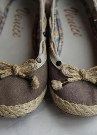 Кожаные (замша) балетки мокасины с бантиками venice