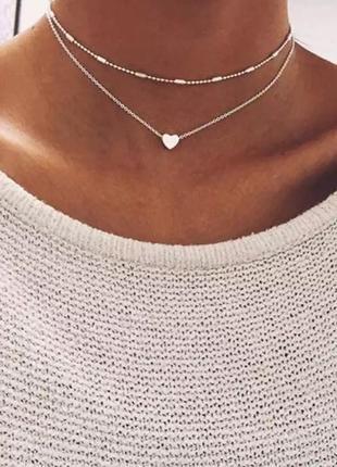Ожерелье колье многослойная цепочка чокер серебристая с подвеской сердце
