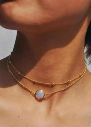 Ожерелье колье цепочка многослойная золотистая с подвеской ланцюжок