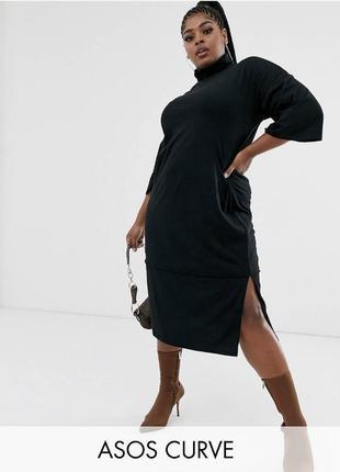 Чёрное хлопковое платье свободное миди, натуральное оверсайз платье гольф