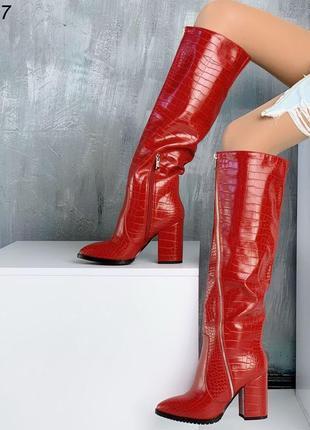 Стильные красные сапоги евро-зима