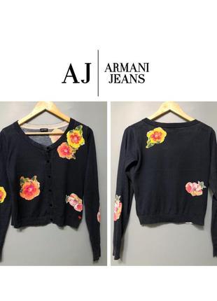 Armani jeans укороченный кардиган синий с цветочным принтом брендовый хлопок шерсть