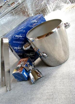 Новый набор для сервировки напитков zepter: ведро для льда + пробка для шампанского