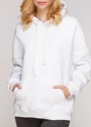 Тёплое объёмное белоснежное оверсайз худи белое oversize на флисе