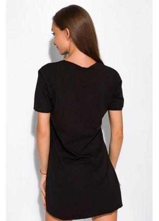 Женская черная хлопковая удлиненная футболка dolce bella