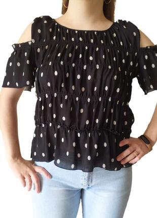 Блуза блузка zara зара черная в белый горошек шифоновая с открытыми плечами р.m (46 укр)