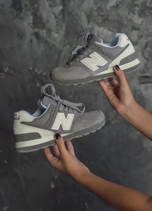Классные женские кроссовки new balance 574 серые