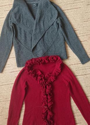Интересная кофта с воланами #100%кашемир#, кардиган цвет марсала р.l