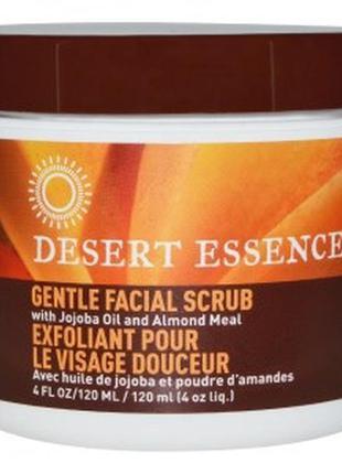 Сша, desert essence нежный скраб для лица с маслом жожоба и миндаля (120 мл.)