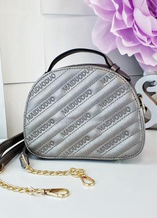 Серебристая сумка через плечо сумочка клатч кроссбоди