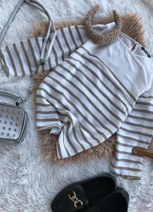 Полосата блузка блузза блюзка сорочка кофта трендова шифонова актуальна