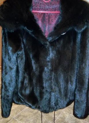 Шуба норковая автоледи. полушубок черный (размер s) норковая шубка с капюшоном