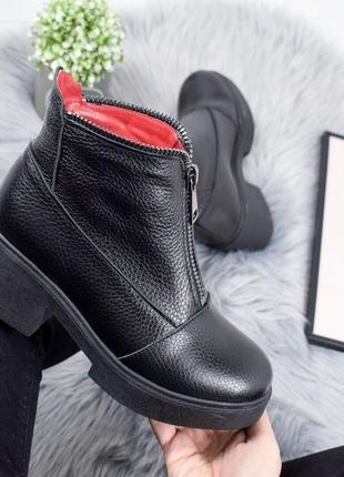 Женские ботинки черные на каблуке натуральная кожа klar soft