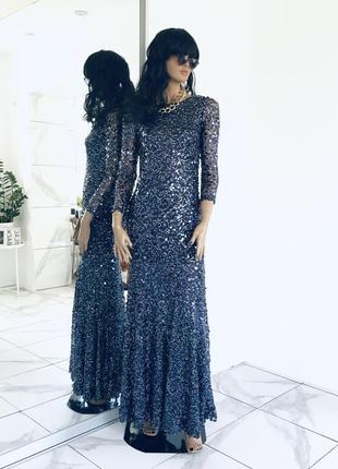 Maniju новое раскошное вечернее нарядное платье в пайетках на торжество в пол англия