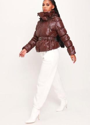 Choklate. товар из англии. стеганная деми куртка в глянцево-шоколадной палитре.