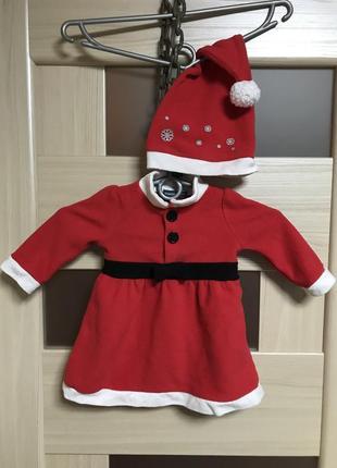 Новогоднее платье санта и колпак на малыша красное