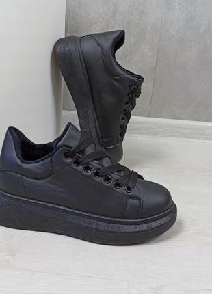 Кросівки кріпери кроссовки кроссы криперы чёрные утеплённые на меху